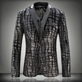 Hot plus size falso couro emendados de veludo terno masculino fino blazer roupas de inverno xadrez de lã outono outerwear jaqueta