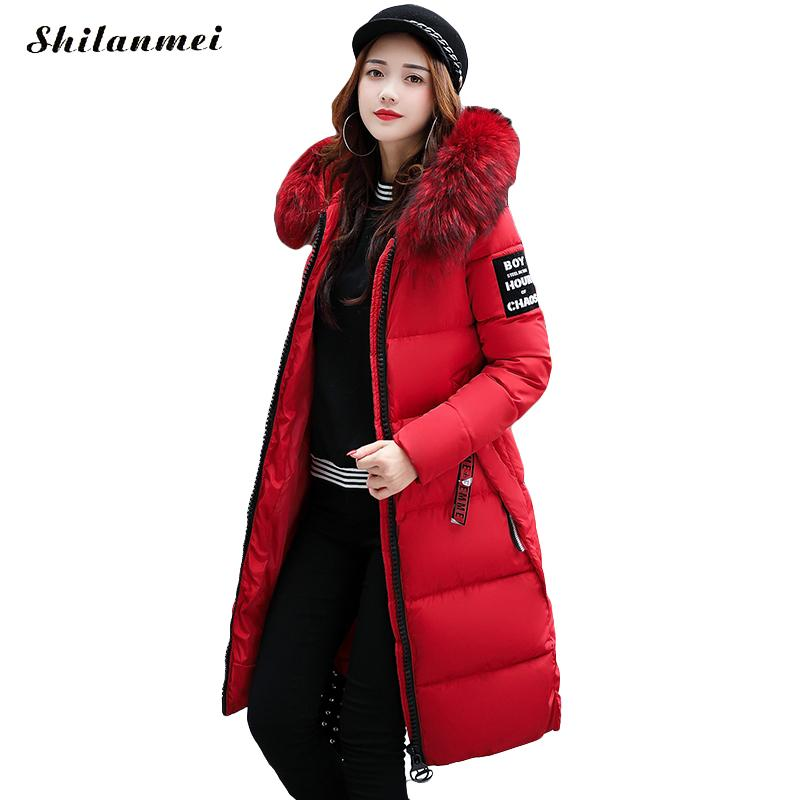 2017 new winter jacket women parka fur collar hooded wadded coat thick long style slim warm outerwear ladies manteau femme hiver new arrival parkas winter warm women coat hooded fur collar outerwear female thick wadded jacket spliced casual style overcoat