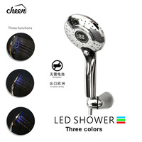 Cheen 3 Colors Water Powered Led Temperature Shower Head Digital Display Handheld Bathroom Shower Head Showerhead Water Sprayer