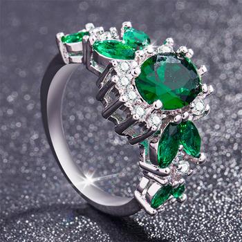 S925 kolor srebrny pierścionek ze szmaragdem biżuteria dla kobiet modne turkusowe Anillos De Bizuteria kamień Diamante Peridot pierścionki kobiety tanie i dobre opinie HOYON Brak Emerald GDTC Grzywny Napięcie ustawianie Diamond Fine jewelry ring for women GEOMETRIC Klasyczny Zespoły weselne