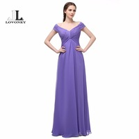 LOVONEY Elegant Evening Dresses Long Chiffon A Line V Neck Cap Sleeves Formal Evening Gowns Occasion