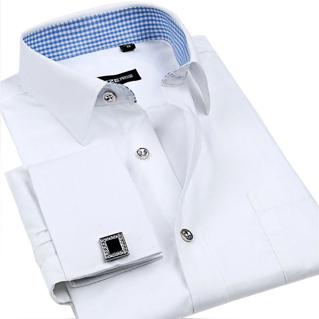 бесплатная доставка  2014  новых  досуг одежды  мужчины  с длинными рукавами  рубашки  моды  досуг  slim  Франции  манжеты  платья  мужские рубашки