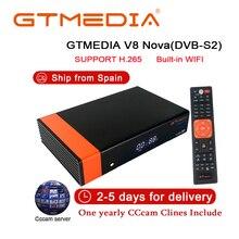 Receptor de TV via satélite Gtmedia V8 Nova Power by V8 Super Receptor freesat DVB-S2 1 Ano Europa 5 cline WI-FI embutido caixa de TV