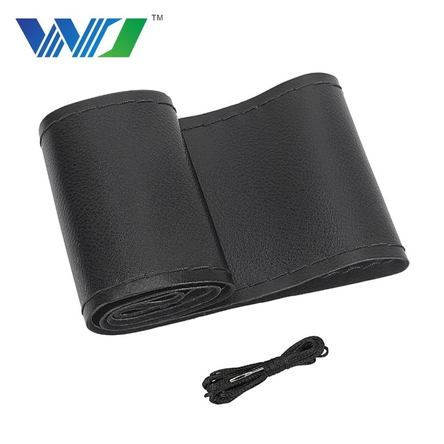 DIY 38cm Car Steering Wheel Cover Micro Fiber Leather braid on the steering-wheel cover With Needle and Thread Auto Accessories