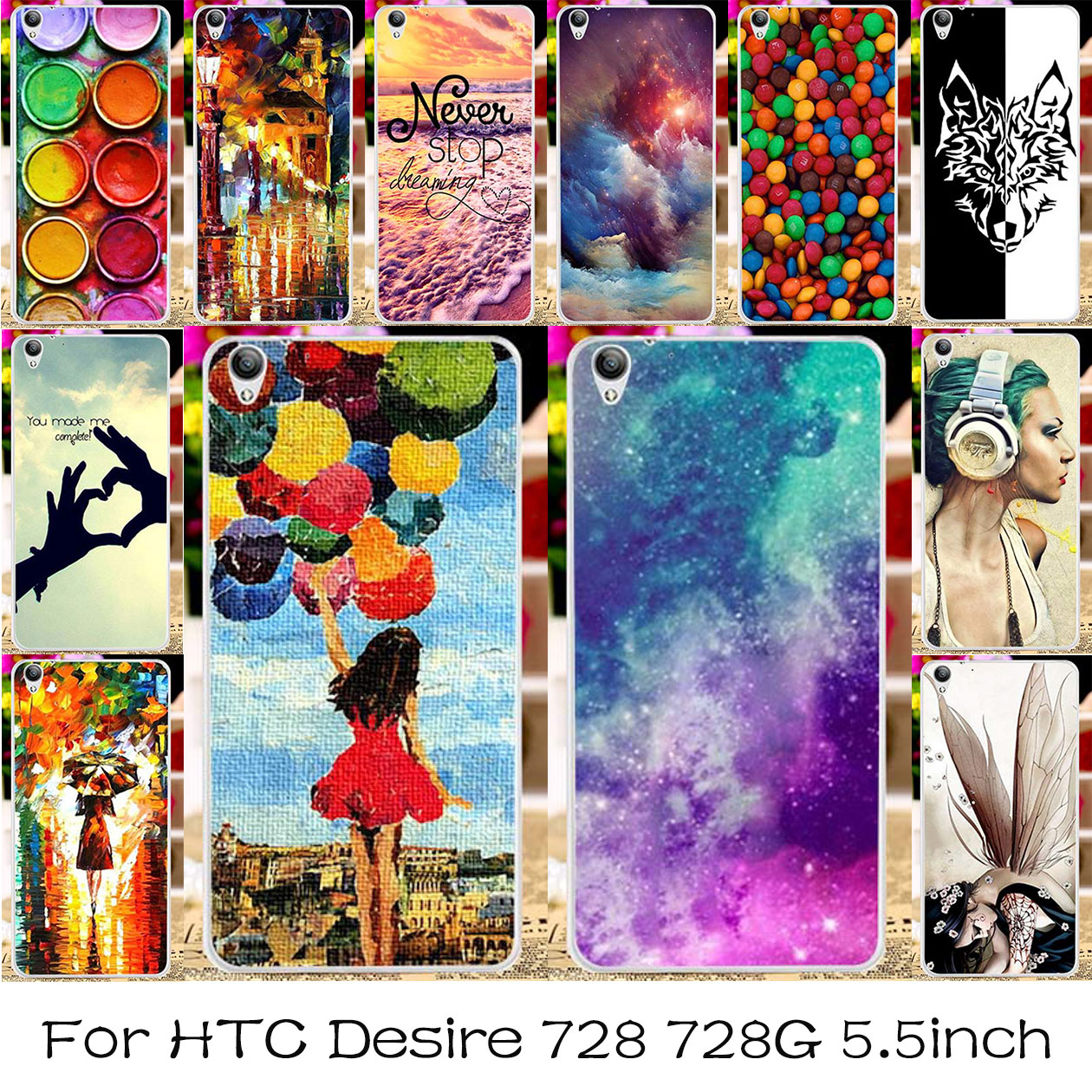 TAOYUNXI Silicone Plastic Mobile Phone Case For HTC Desire 728 728G Bag Shell Dual Sim D728T D728W Cover For HTC Desire 728 Case