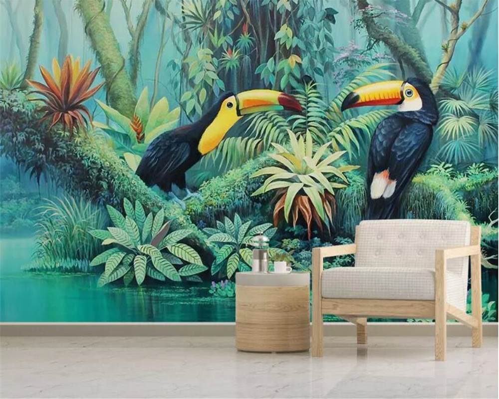 beibehang Retro classic three-dimensional wallpaper hand-painted tropical rainforest plant toucan wall pape decorative painting beibehang custom 3d wallpapers hand painted retro nostalgic abstract oil painting flowers landscape european style wallpaper