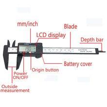 150 мм ЖК цифровой штангенциркуль Электронный штангенциркуль из углеродного волокна измеритель микрометра 6 дюймов измерительный инструмент пахиметр
