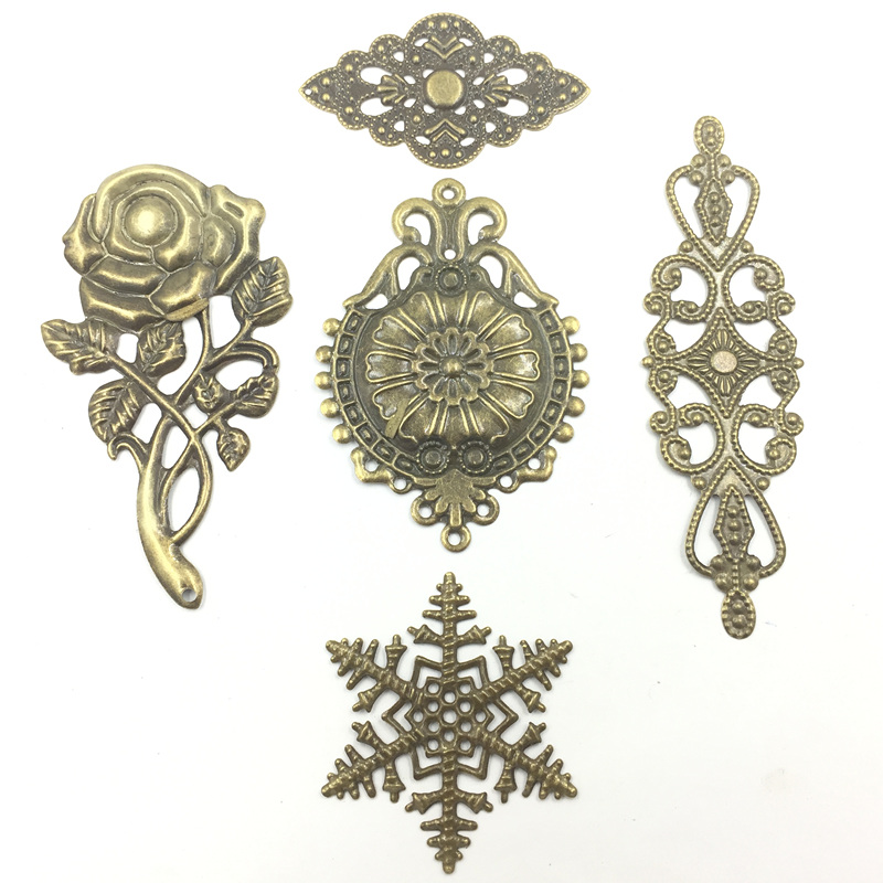 20 Bronze Tone Peacock Animal Filigree Wraps Connectors Pendants Embellishments