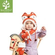 2018 Winter Children Hat Set Knitted Baby Hat And Scarf 2 Pcs Set Warm Kids Hats Thicken Lining Girls Boys Animal Fox Caps все цены