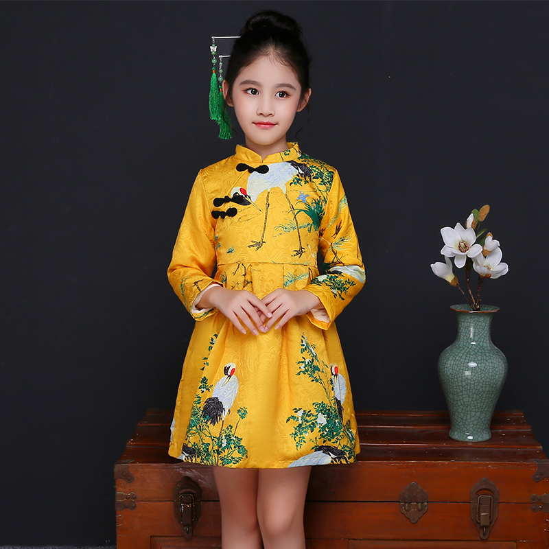2018 winter new arrival girls chinese style cheongsam kids girls long sleeve crane print dresses surplice qipao clothes years trumpet sleeve flounce surplice wrap bodysuit