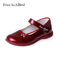 FreeAsABird 2017 Designer Bowknot Princess Patent Leather Girls Shoes Children Sneaker Girl Shoes Kids Shoes Chaussure