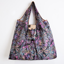 ECO Polyester Portable Shoulder Handbag Cartoon Green Folding Pouch Thickening Reusable Shopping Bag Tote Foldable