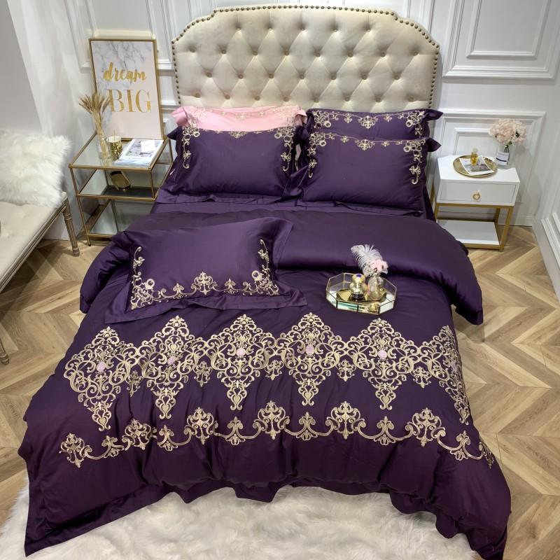 Luxury Egyptian Cotton Purple bedding set queen/king size bed set 4pcs duvet cover Bed sheet set Pillowcases parure de lit Luxury Egyptian Cotton Purple bedding set queen/king size bed set 4pcs duvet cover Bed sheet set Pillowcases parure de lit