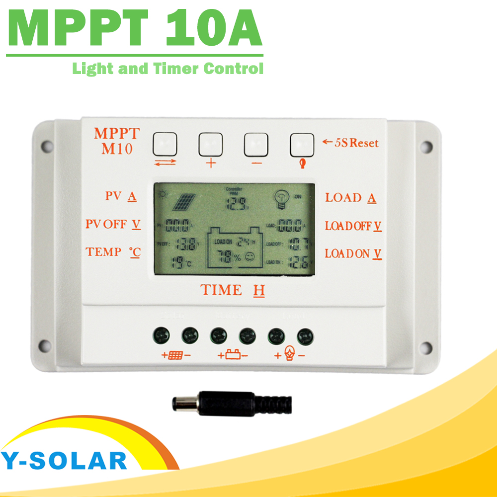 MPPT 10A Solar Charge and Discharge Controller with Temperature Sensor LCD Regulator Light and Timer Control for Home Lighting mppt 20a solar regulator tracer2210a with mt50 remote meter and temperature sensor