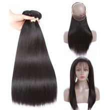 Mslove 360 Lace Frontal With Bundles Перуанские прямые волосы 2 комплекта с фронтальным закрытием 100% человеческие волосы Связки с закрытием