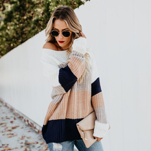 Loose Patchwork Womens Knitting Pullover 2019 Autumn Winter Fashion Striped Rainbow Sweaters Long Sleeve Female Clothes