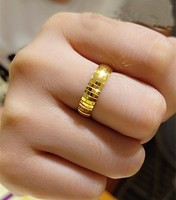 Hot sale Pure 999 24K Yellow Gold Ring Men's Band Ring 2.92g