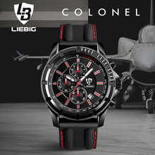 New Multi-dial Military Sport Watch men Silicone Strap Calendar Waterproof Clock Analog Quartz Watches Relogio Masculino LIEBIG