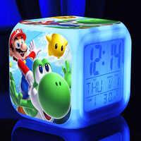 Super mario bros alarm clock Kids LED Clock Cartoon night light Flash 7 Color changing digital clock electronic desk clock