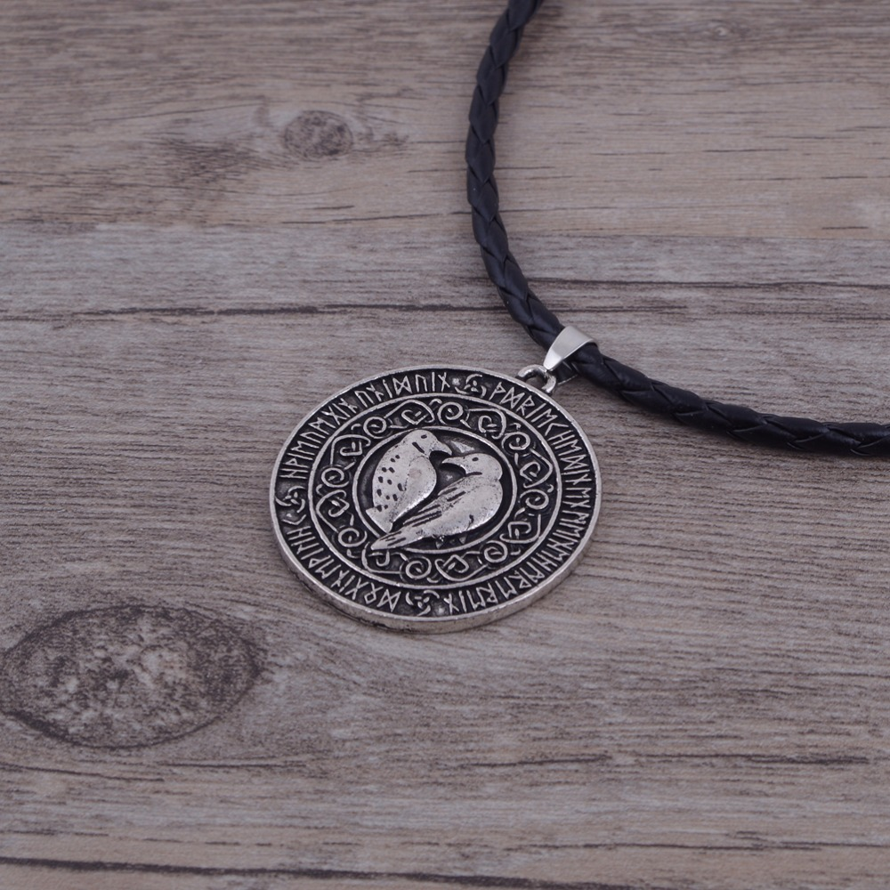 1pcs Drop shipping Valknut Raven Knot Runic with leather cord Talisman Men jewelry Necklace Nordic Amulet talisman necklace meaning wiring diagrams wiring diagrams wiring diagram atos prime scribd at love-stories.co