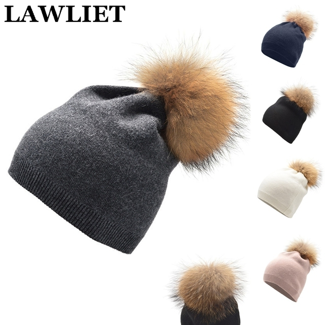 Autumn Winter Knitted Wool Hats For Women Fashion Pompom Beanies Fur Hat Female Warm Cap With Natural Genuine Raccoon Cap A392