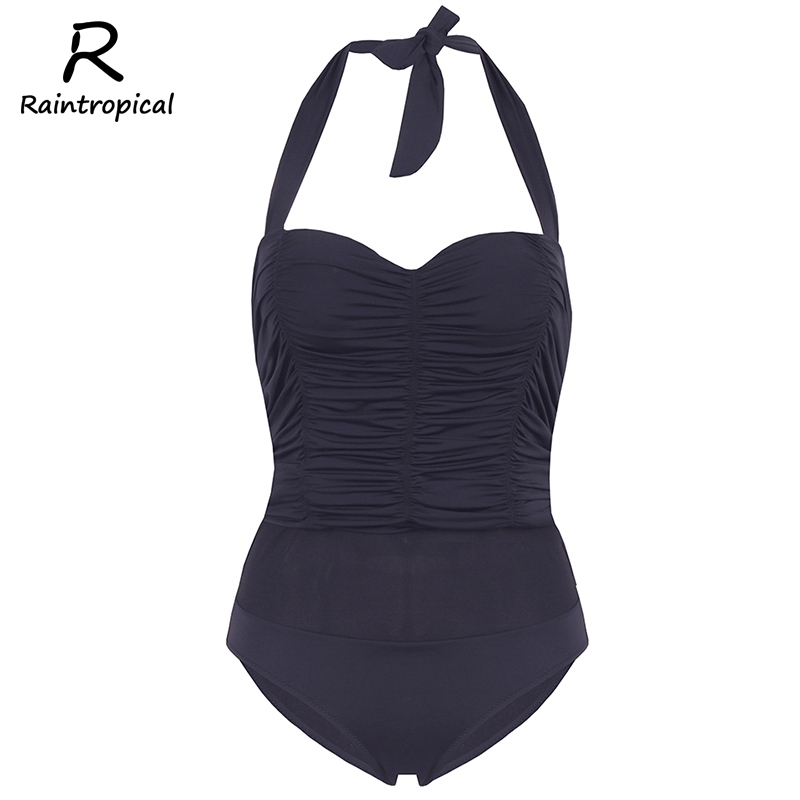 Raintropical New One Piece Black Swimsuit 2017 Sexy Plus Size Hot Swimwear Bandage Women Vintage Bathing Suits Summer For Girls 2017 new sexy one piece swimsuit strappy biquini high waist one piece swimwear women bodysuit plus size bathing suits monokinis