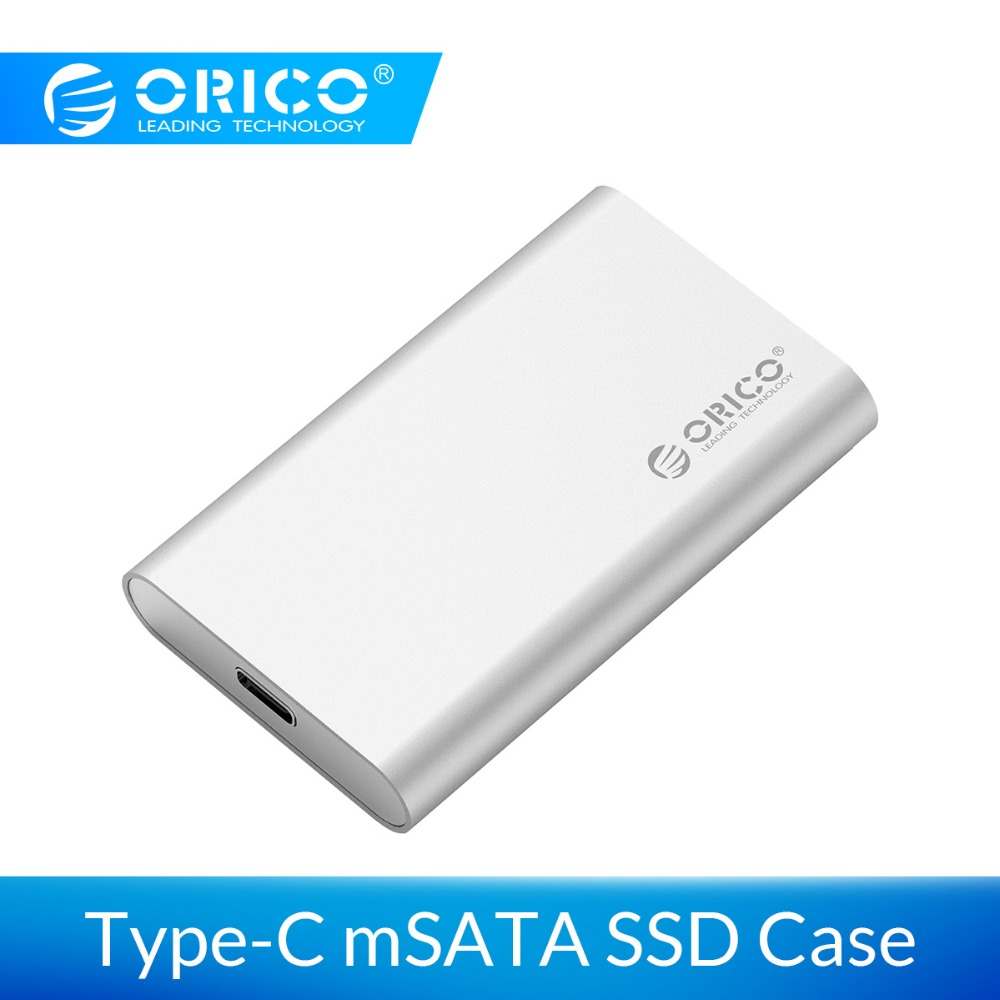 ORICO Aluminum Type-C Mini MSATA SSD Enclosure USB3.1 6Gbps High-speed USB C SSD Case MSATA Screw Fixing For Windows/Linux/Mac