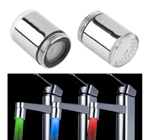 2019 New Style LED Kitchen Faucet Glow Kitchen Tap Accessory Temperature Sensor 1 X LED Light Faucet 3 Colour