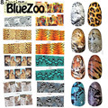 BlueZoo 8 Sheets/ pack Tiger Snakeskin Transfer Stickers On Nails Colorful Leopard Pattern Water Decals Nail Art Fingernails
