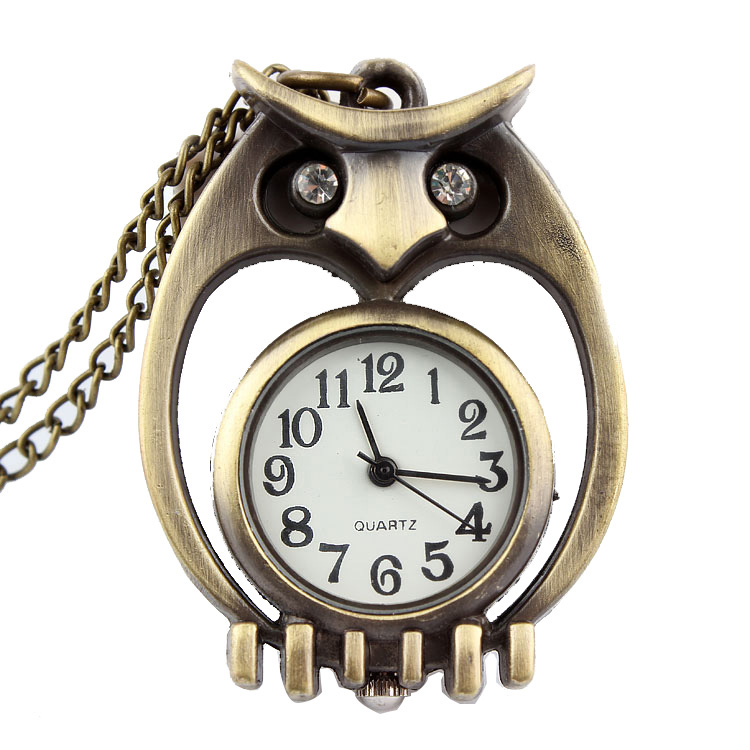 Bronze Cute Owl Pocket Watch Necklace Pendant Quartz Fob Chain Small Size Sliver Watches For Men Women Kids Child Gift Clock