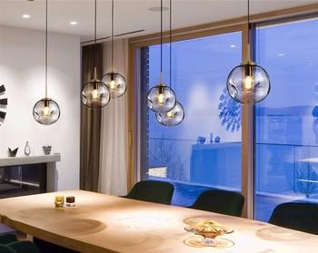Â�メリカの創造的なガラス玉のペンダントライト鉄フープ Sv002237 Á�め寝室カフェレストランバー屋内照明器具の装飾