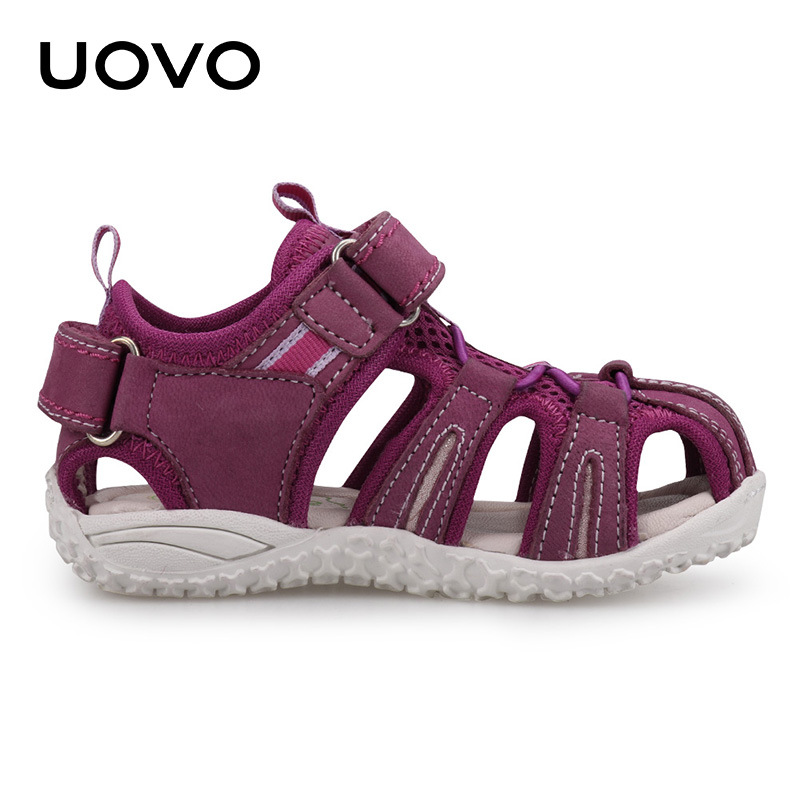 Uovo Kids Suede Leather Sandals Classical Closed Toe Beach Shoes Size 25 36 Soft Goat skin Summer Footwear Moccasins Shoes-in Sandals from Mother & Kids    3