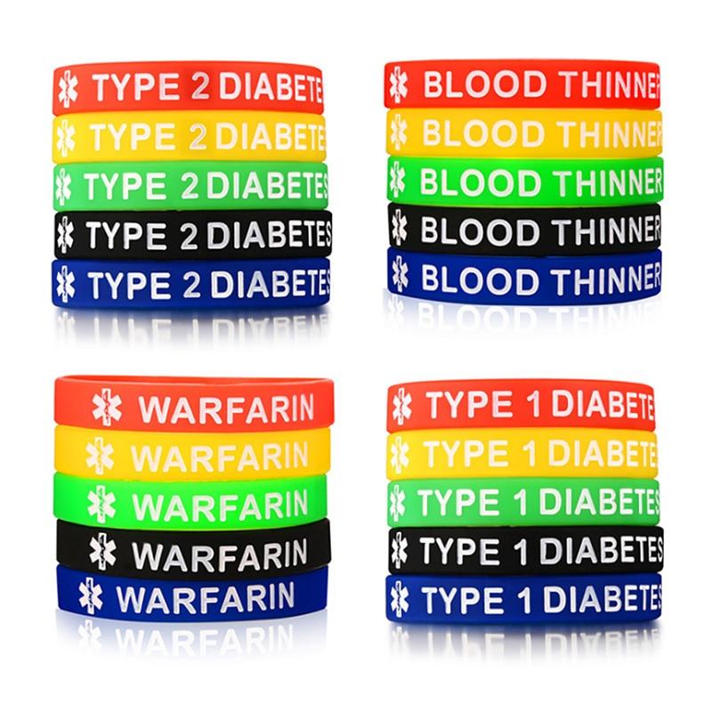 4ec0766feaa5 La DIABETES de Tipo 1 DIABETES tipo 2 diluyente de la sangre warfarina  pulsera de alerta médica de las mujeres de los hombres 5 colores un  conjunto de ...