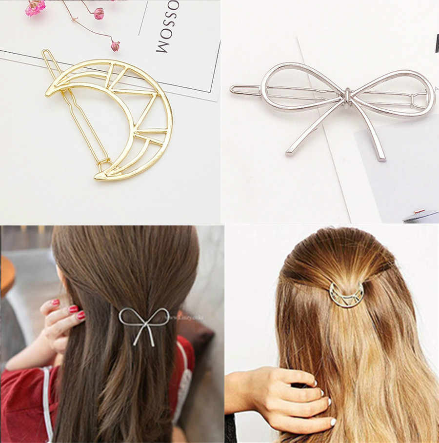 1Pcs Hollow Moon and Bow Fashion Hair Clip for Women Elegant Korean Design Snap Barrette Stick Hairpin Hair Styling Accessories