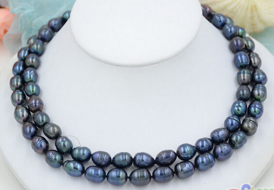 HOT## Wholesale > >>> P4701 2row 17~18 13mm rice black Freshwater cultured PEARL necklaceHOT## Wholesale > >>> P4701 2row 17~18 13mm rice black Freshwater cultured PEARL necklace
