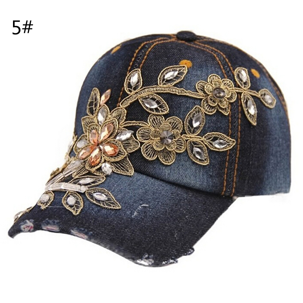 2016 Full Crystal Rhinestone Floral Denim Baseball Cap Bling hip hop  Adjustable Snapback Hat for women Wholesale-in Baseball Caps from Apparel  Accessories ... 1cc785594864