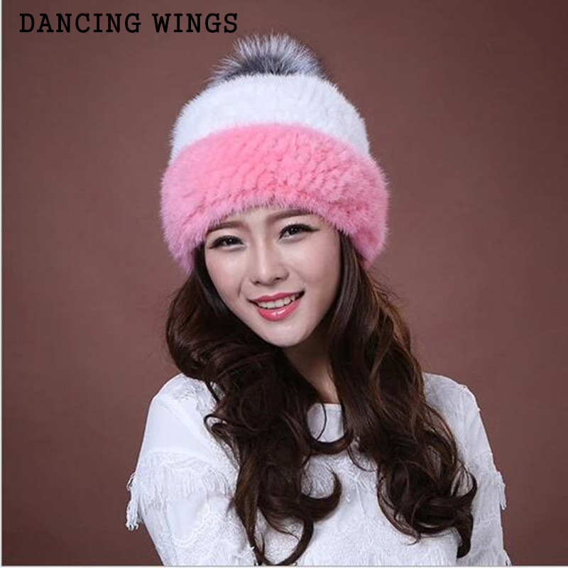 DANCING WINGS Hot sale winter knitted mink fur beanies cap with fox fur pom poms female cap real mink fur hat for women MS-9