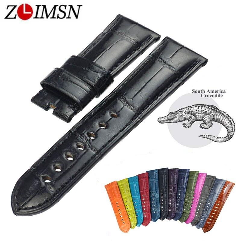 ZLIMSN 12 kolor luksusowe Alligator pasek do zegarków dla Panerai zegarek mężczyzna kobiet bransoletka 12mm 26mm nadaje się dla Apple obserwować 38mm 42mm w Paski do zegarków od Zegarki na  Grupa 1