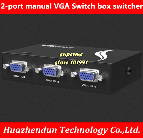 VGA Swicther Box 2 In 1 Out w// Manual Switch Button 1920*1440 for Computer