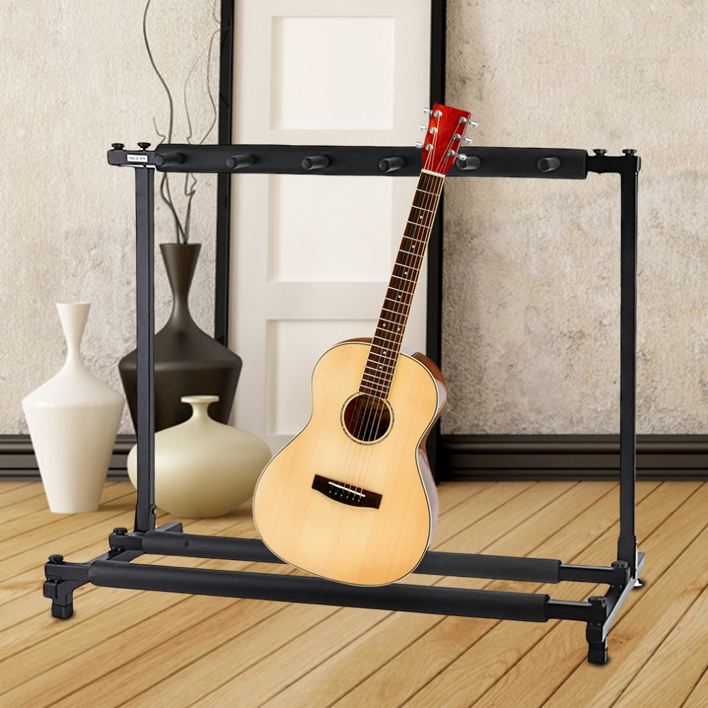 Ship From US Stable Multiple Folding Display Holder Stand Rack Band Stage for Guitar Bass 3 5 7 guitars parts Accessories Brand aluminum plastic board eyeglass sunglasses display holder rack stand for 52pairs each distance 0 5cm total height 940mm 1pc lot