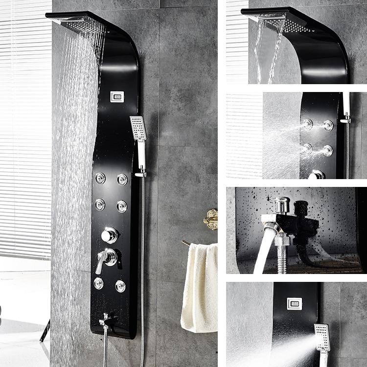 Multi-Function Shower Panel Bathroom Shower Faucet Rain Massage System Faucet with Jets Tub Spout  ouboni new arrival bathroom rainfall shower panel rain massage system faucet with jets hand shower bathroom faucet tap mixer