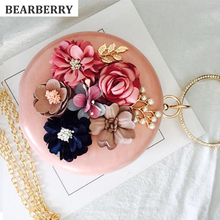Фотография 2017 high quality handmade flowers evening clutch bags brand mini round mini clutch wallets wedding dinner bags with chain