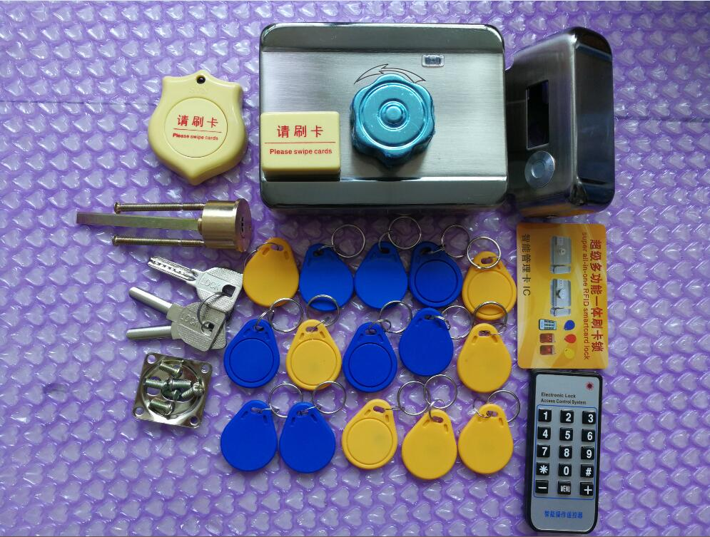15pcs tags chips IC 13.56MHz 12VDC Door and gate RF Access Control system Electronic integrated RFID Door Rim lock for intercom