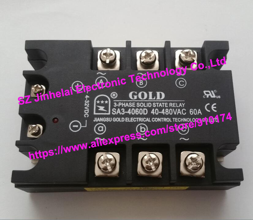 New and original SA34060D SA3-4060D GOLD three-phase Solid state relay 40-480VAC 60A new and original sa34080d sa3 4080d gold solid state relay ssr 480vac 80a
