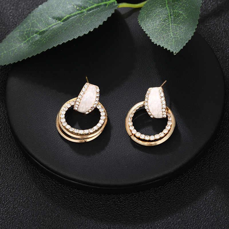 Joyería India Bohemia, pendientes de círculo metálicos irregulares exagerados europeos, pendientes geométricos de plata y oro, pendientes bohemios de moda Brincos