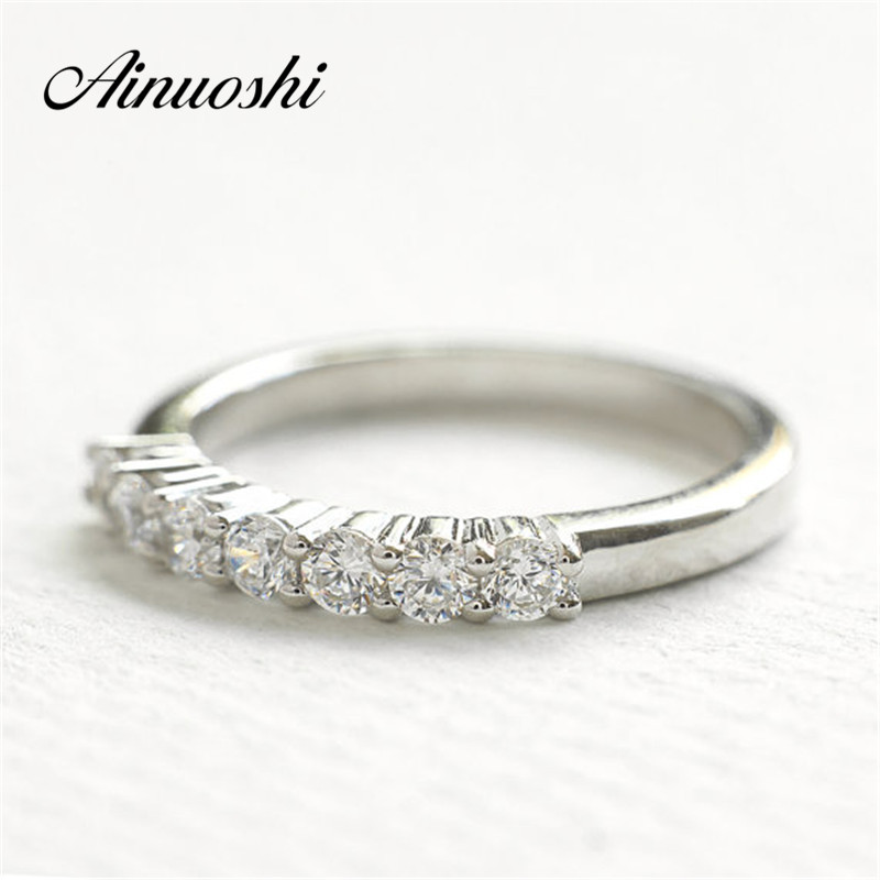 AINOUSHI Trendy Genuine 925 Solid Sterling Silver Wedding Silver Ring SONA Engagment Ring Women Bridal Band Engagement Ring GiftAINOUSHI Trendy Genuine 925 Solid Sterling Silver Wedding Silver Ring SONA Engagment Ring Women Bridal Band Engagement Ring Gift