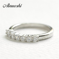 Trendy 925 Sterling Silver Wedding Band Silver Stacking Ring 7 Sona Synthetic Diamond Engagment Ring Women