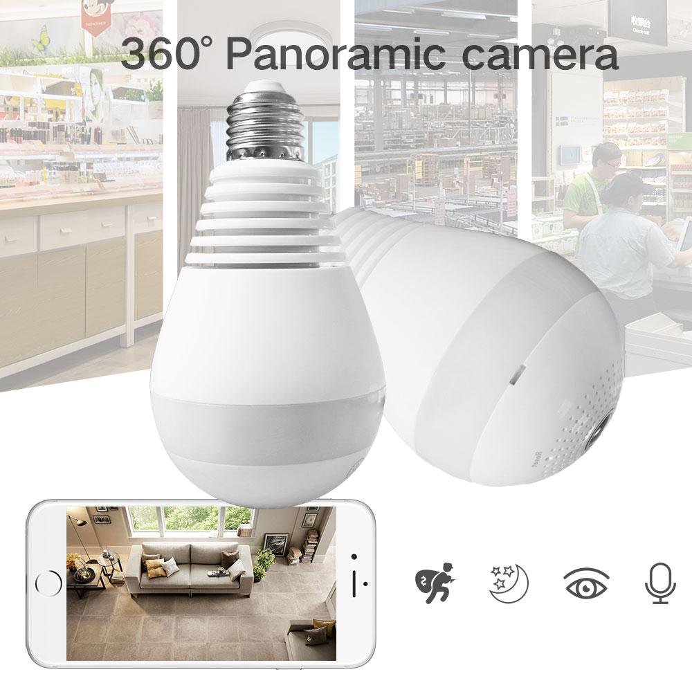 SDETER 960P Bulb Light Wireless IP Camera 360 Degree Panoramic FishEye Security CCTV Camera Wifi P2P Motion Detection Camera IP