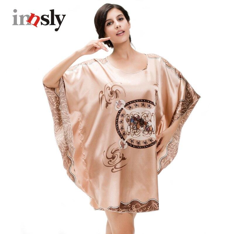 Nightgowns Sleepshirts Women Night Dress Plus Size Sleepwear Faux Silk Ladies Big Size Bat Sleepshirts Summer Nightgowns Female