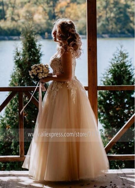 V-neck Lace Applique Cap Sleeve Long Elegant A-line Wedding Dress with Lace-up Pearls Champagne Bridal Dress vestido de novia 2